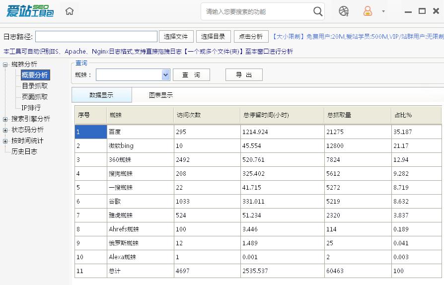 SEO网站日志分析工具.png